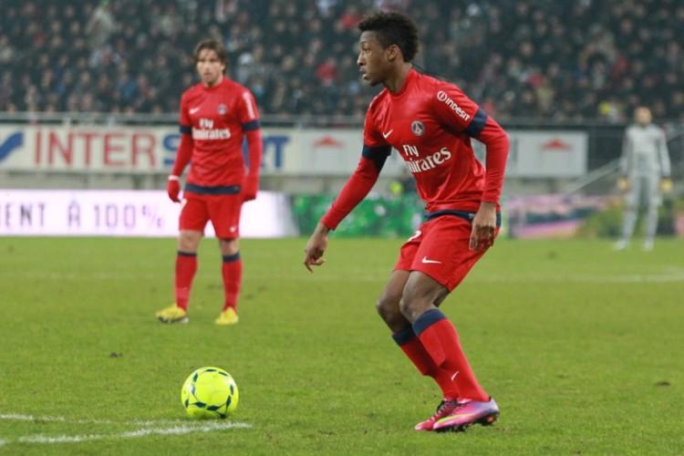 Coman in possesso di palla nel giorno dell'esordio in Ligue 1 contro il Sochaux